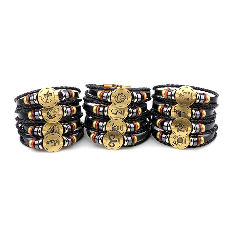 c1aef6f880b6b Vnox 12 Horoscope Leather Bracelet Men Jewelry Vintage Retro Charm Bracelet  Male Jewelry 8.2