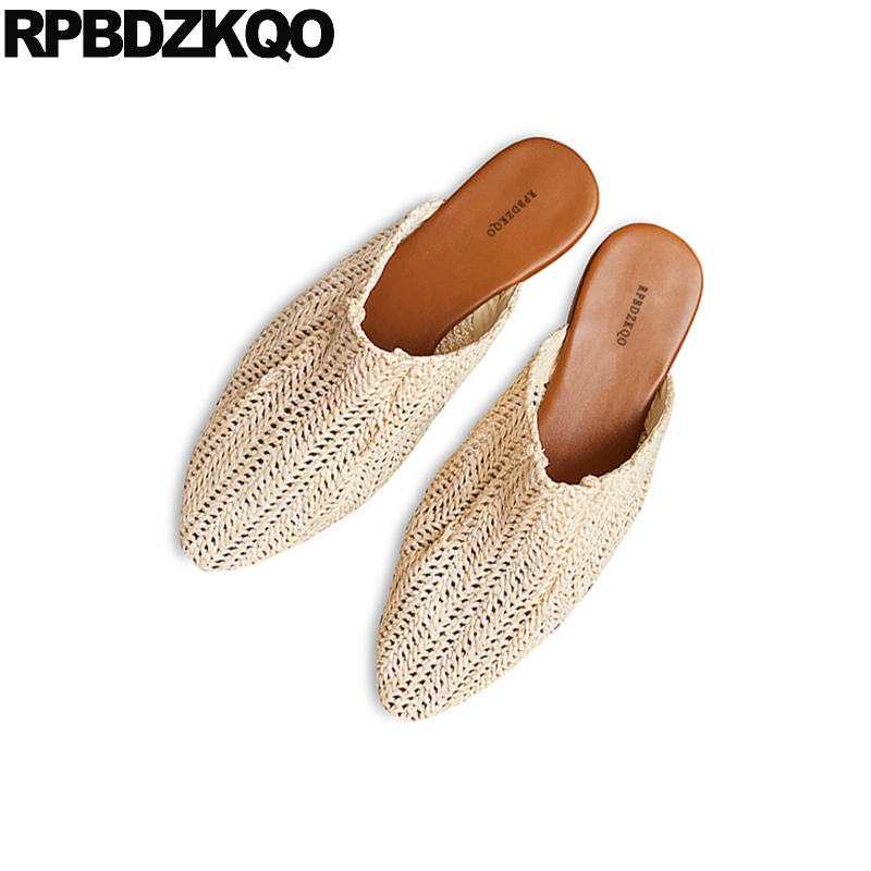 Designer Ladies Sandals Female Mules Flat Beige Soft Women Shoes 2018 Spring Summer Slip On Slides Casual Cheap Comfortable Cane все цены