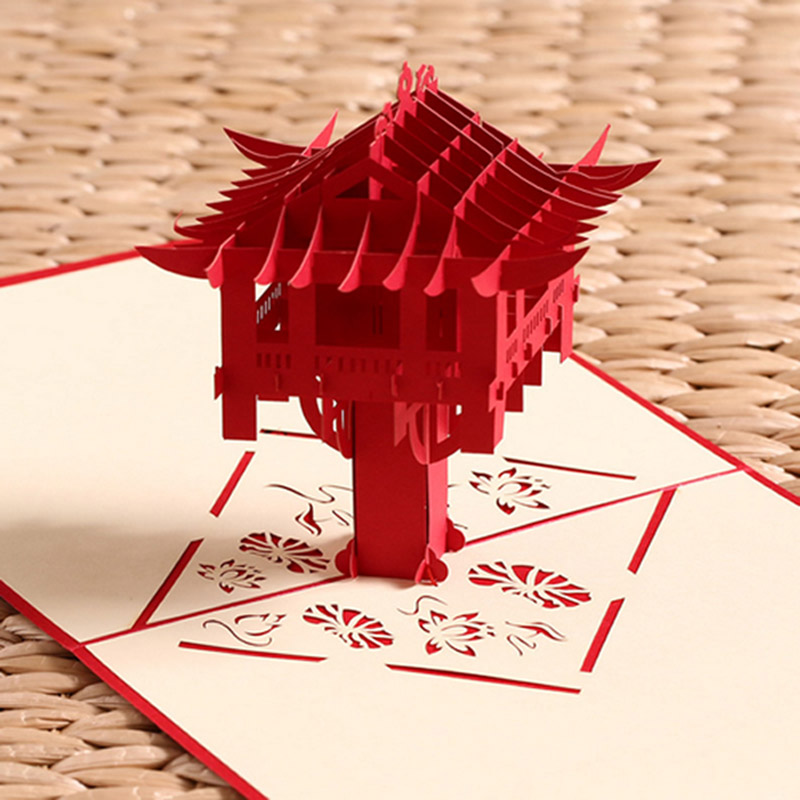 10Pcs 3D Pop Up Cards Invitations Creative Birthday Party Invitations Card Decoration Pavilion Beacon Romantic Wedding Supplies