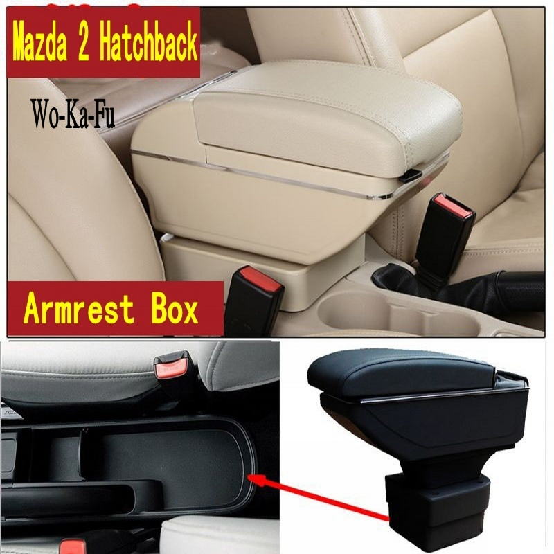 For Mazda 2 M2 Hatchback armrest box central Store content Storage box with cup holder ashtray USB interface universal leather car armrest central store content storage box with cup holder center console armrests free shipping