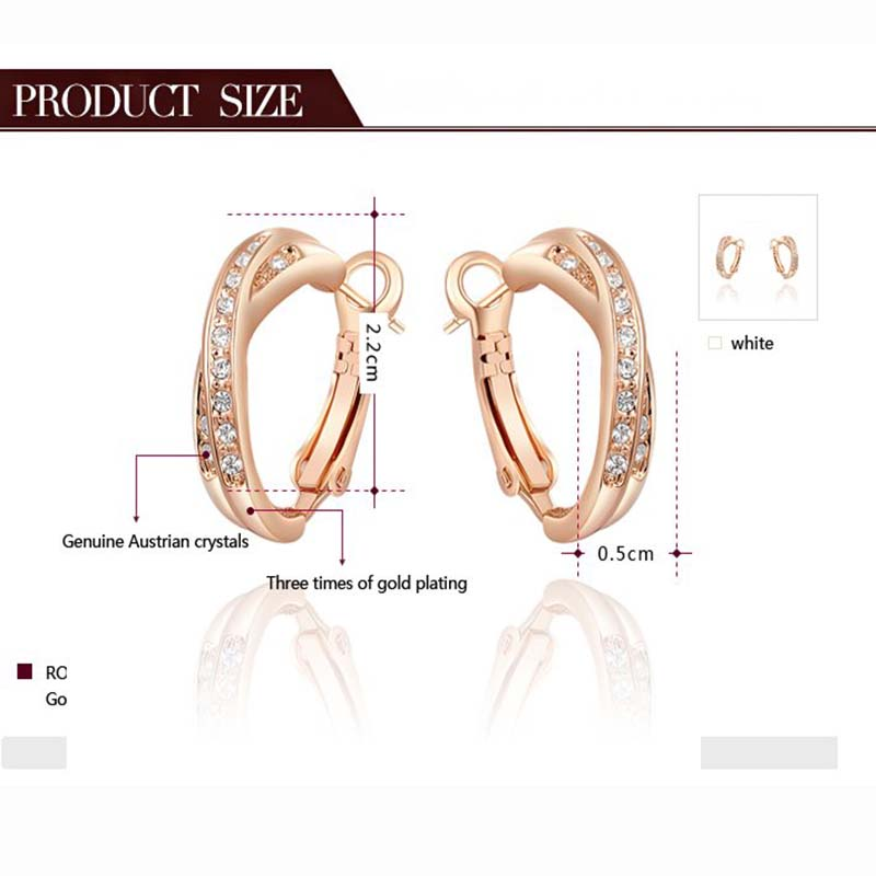 ROXI Charms Intersection Studs Earring Exquisite Rose Gold for Elegant Women Party Wedding Jewelry for Romantic Mothers Gif