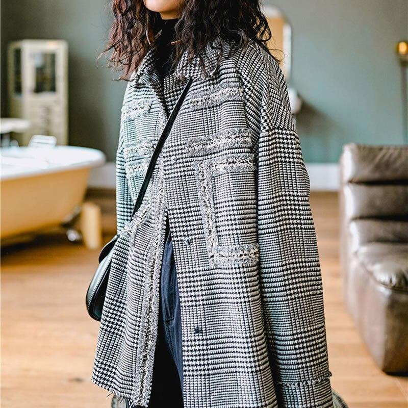 2019 Pleine Manteau Décontracté xitao Fsahion Corée Turn Grey Lyh3182 Femelle Plaid Poitrine Ample Unique Manches Printemps Nouveau down Veste Collar Sn8dwgq