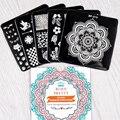 NACIDO PRETTY 5 Unids/set Clavo Que Estampa Las Placas Plantilla Flor Diseño Búho Animal Nail Art Sello Imagen del Lazo BP-X11 ~ X15 6*6 cm