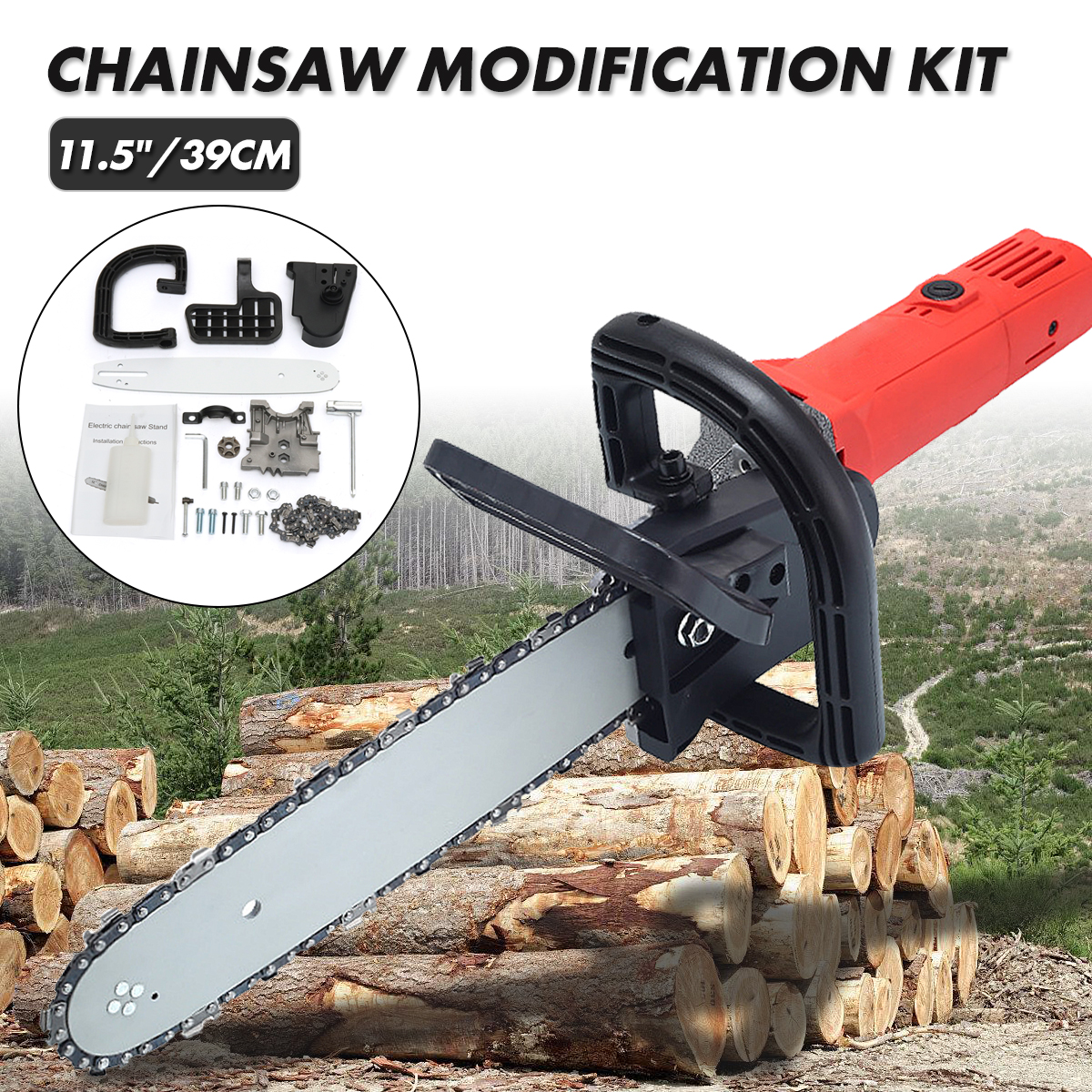 Updated version 115 chainsaw angle grinder accessories woodworking 115 woodworking chain saw bracket non regulating chainsaw refit kit set chain saw woodworking greentooth Choice Image