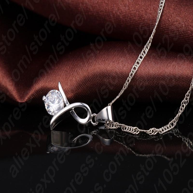 Women 925 Sterling Silver Fashion Necklace Earrings Jewelry Set For Wedding Party Cubic Zircon Cartilage Piercing Earrings