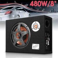 8 480w 12V Car Subwoofer Slim Under Seat Speaker 21mm Car Audio Sub Woofe Wired 8