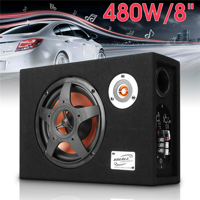 "Best Offers 8"" 480w 12V Car Subwoofer Slim Under-Seat Speaker 21mm Car Audio Sub Woofe Wired 8 inch Ultra Thin Car Power Amplifier Speaker"