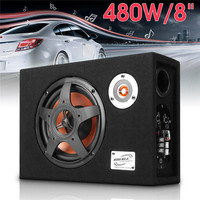 8 480w 12V Car Subwoofer Slim Under Seat Speaker 21mm Car Audio Sub Woofe Wired 8 inch Ultra Thin Car Power Amplifier Speaker