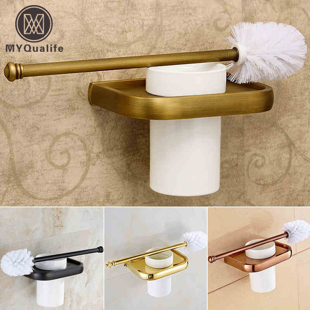 Luxury Multi-color Toilet Brush Holder with Ceramic cup/ Household Decoration Bathroom Cup Holder