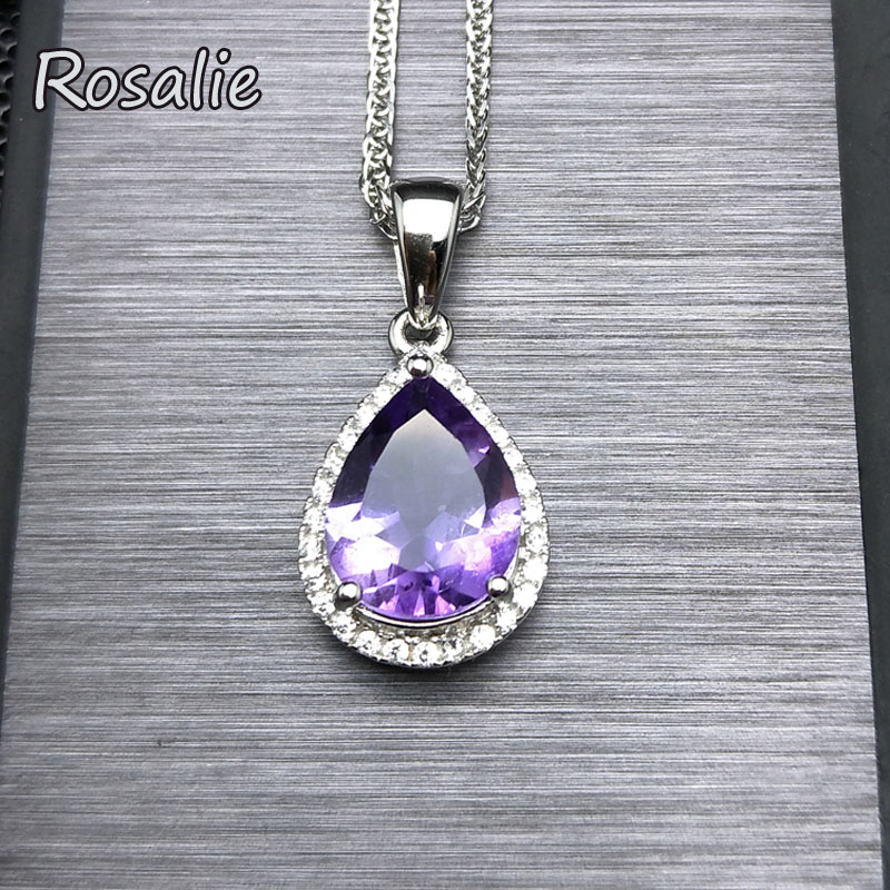 Rosalie,Wholesale 925 Sterling Silver Jewelry Pearl Cut Waterdrop Amethyst Pendant Necklace for Women's Clothing & Accessories