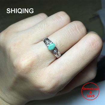 SHIQING Nature green emerald ring, vintage art deco ring, heart letter s sterling silver rings for women