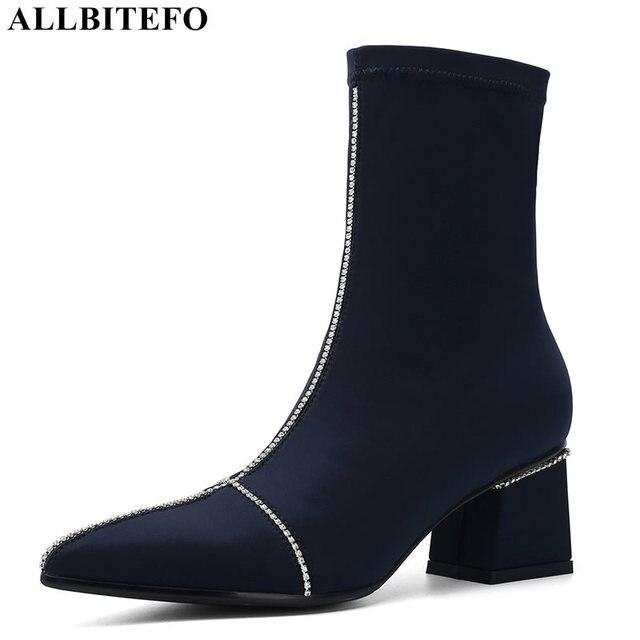 ALLBITEFO แฟชั่น Rhinestone วัสดุยืดหยุ่นรองเท้าส้นสูงข้อเท้าผู้หญิงฤดูหนาวผู้หญิงรองเท้าผู้หญิงรองเท้า