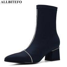 ALLBITEFO moda taklidi elastik malzeme yüksek topuklu yarım çizmeler kadınlar için kış kadın kızlar çizmeler parti kadın botları