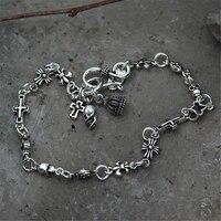 Crown Anchor Skull Cross Charm Bracelet 100 925 Sterling Silver Bracelet Bangle Women Men Silver 925