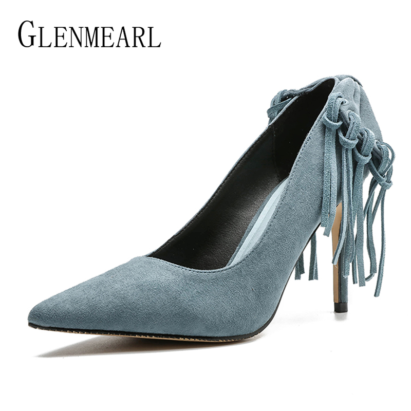 цены Woman Shoes High Heels Brand Women Pumps Tassel Fashion Office Lady Dress Shoes Black Spring Autumn Pointed Toe Female Pumps DE