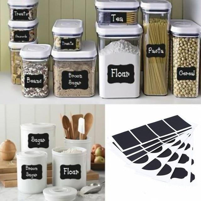 WHISM 36Pcs/Lot Chalkboard Labels DIY PVC Waterproof Black Blackboard  Sticker Craft Kitchen Jar Organizer