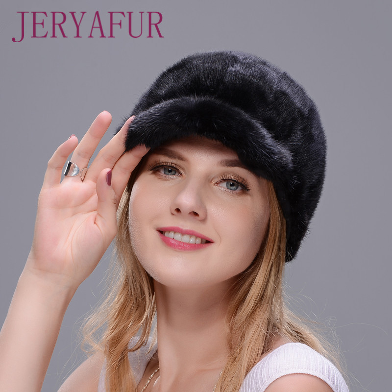 New Fshion And Warm Hat For Women Real Natural Mink Fur Cap High-quality Hat Mink Splicing With Eaves Blocking Snow Warm Enough the new children s cubs hat qiu dong with cartoon animals knitting wool cap and pile