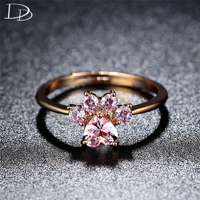 DODO Cute Pink AAA Zircon <font><b>Cat</b></font> <font><b>Dog</b></font> Bear Paw Rings For Women Fashion Rose Gold Color Open End Ring Kpop <font><b>Jewellery</b></font> Wholesale R390 image