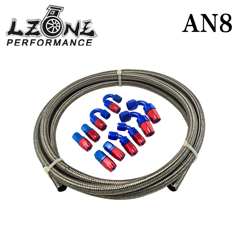 цена на LZONE - AN-8 STEELNESS / STEEL BRAIDED 5M AN8 STAINLESS Racing Hose Fuel Oil Line +8AN Fitting 8-AN Hose End Adaptor KIT JR7113+
