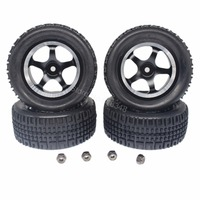 4PCS 76mm RC Rally Racing Tires Aluminum Wheel Rims Set 5 Spokes Foam Inserts 12mm Hex