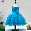 2016 Girls Party Dress Sequined Dress Wedding Flower Tutu Dress Cake Flowers Sleeveless Fashion Vest Kids Clothing vestido