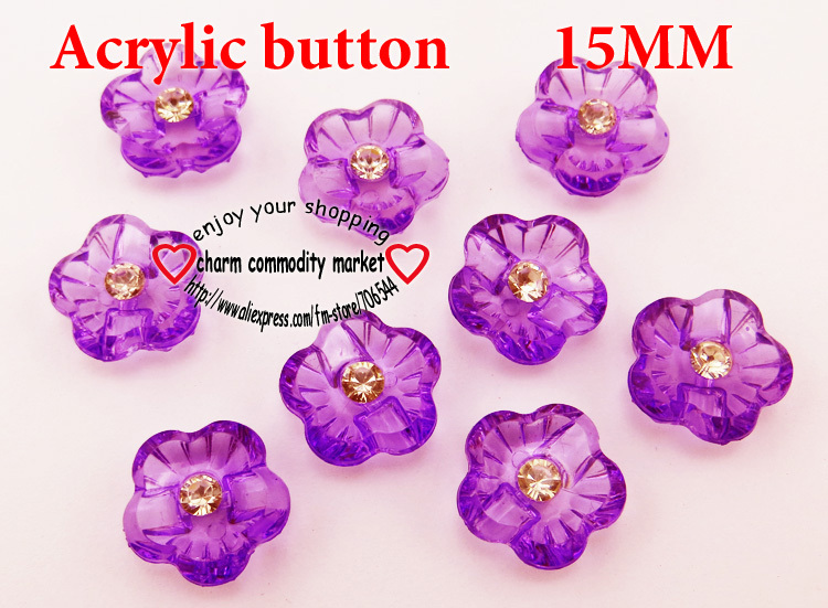 40PCS flower shape purple Dyed Acrylic buttons coat boots sewing clothes accessories A-005