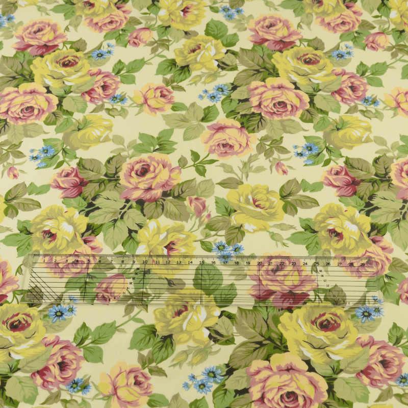 Green Rose Cotton Fabric  Sewing Quilting Bedding Decoration Tissue Home Textile Patchwork Cloth Craft Teramila Fabrics Tecido