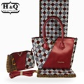 H & Q Hot koop 3 stuks/set wax tassen, hoge kwaliteit vrouw handtas bijpassende 6 yards echte wax en afrikaanse katoen stof voor jurk