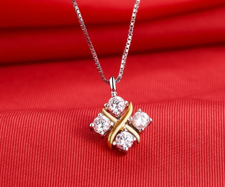 New arrival nice pendant 04ct 4 stones synthetic diamonds new arrival nice pendant 04ct 4 stones synthetic diamonds engagement jewelry pendant necklace for women sterling silver in gold in pendants from jewelry mozeypictures