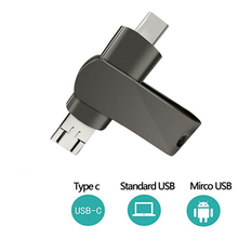 Buy USB Dual Flash Drive 128GB 3-in-1 OTG USB 2.0 Flash Drive Disk for Computers and Android Devices (Both Micro and Type-C) - black directly from merchant!