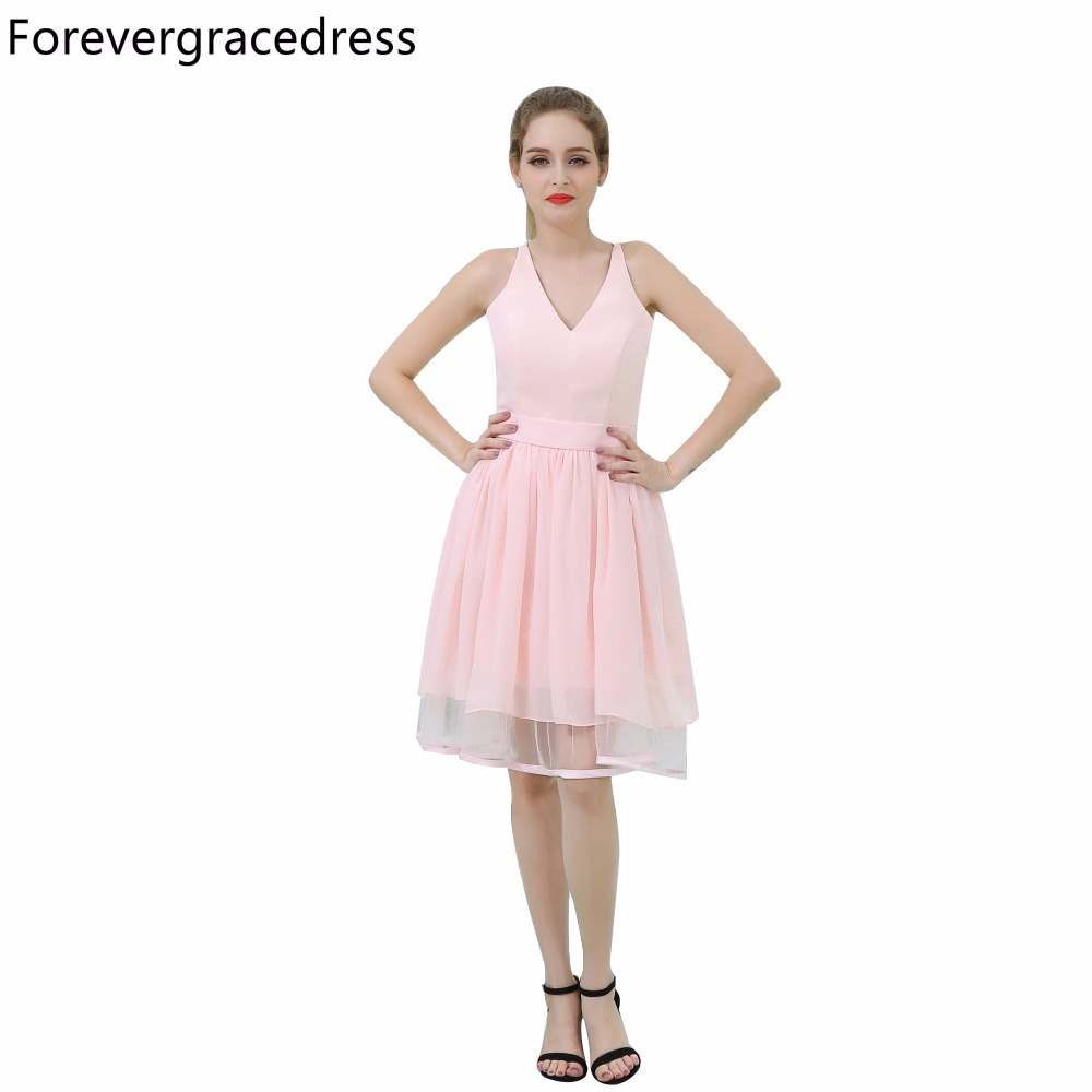 Forevergracedress Real Picture Simple Pink   Cocktail     Dress   V Neck Short Lace Back Party Gown Plus Size Custom Made
