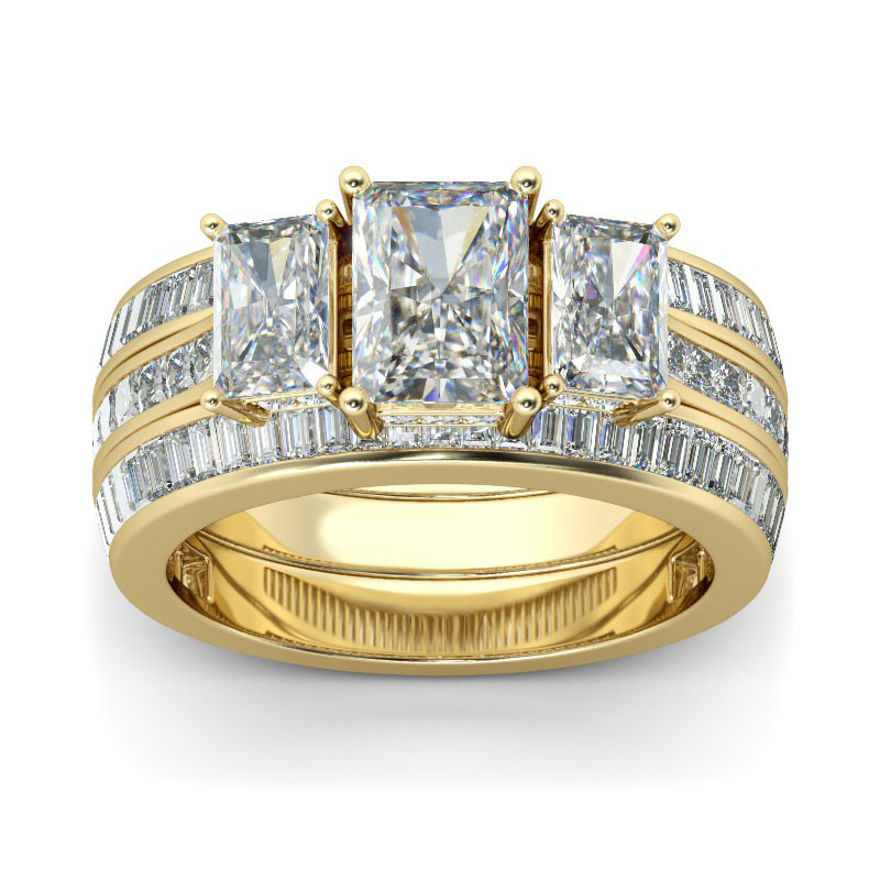 Hutang 3Pcs 11 35Ct Simulated Diamond Yellow Gold Color Wedding Ring Sets 925 Sterling Silver Engagement