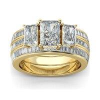Hutang 3 шт. 11.35Ct Имитация Алмазный желтого золота Цвет обручальное кольцо наборы 925 пробы серебро Обручение кольца для Для женщин свадебные