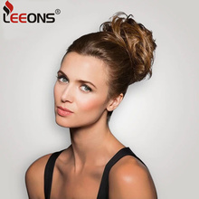 Leeons 1Pcs/2Pcs/Lot Hair Scrunchie With Rubber Band Hair Curler Wig Puff Bud Elastic Hair Bands Women Hair Styling Tools Black