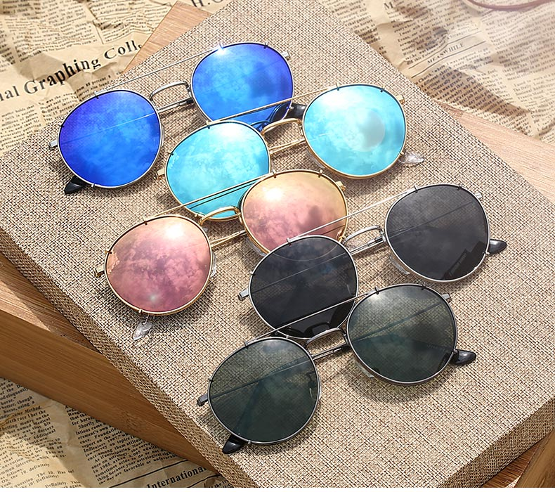 Galletas Dobles Retro Round Polarized Sunglasses