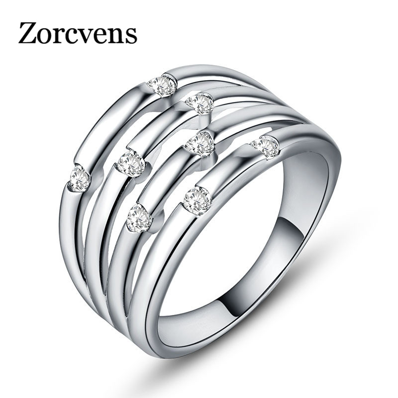 ZORCVENS Valentine's Day Deals White Gold Color Droplets Multilayer Finger Classic Ring for Women Wedding Fine Jewelry image