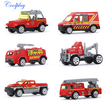 6PCS 1:64 Scale Mini Diecast Car Model Fire Truck Alloy Engine Toy Vehicles Ladder Car Machines Kids Toys for Children }