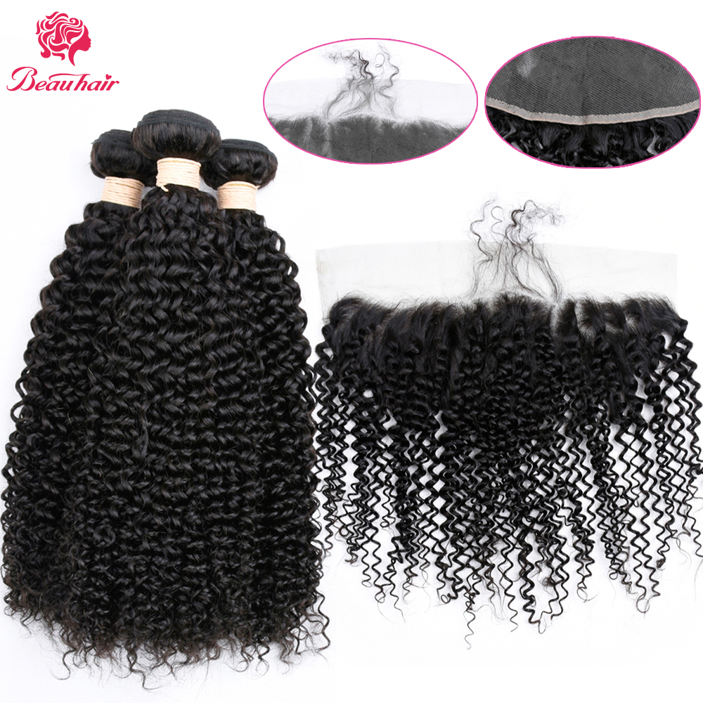 Beau hair Peruvian Kinky Curly 2/3 Bundles with 13*4 Frontal Closure 100% Human Hair Weaving Non-Remy Hair Extensions