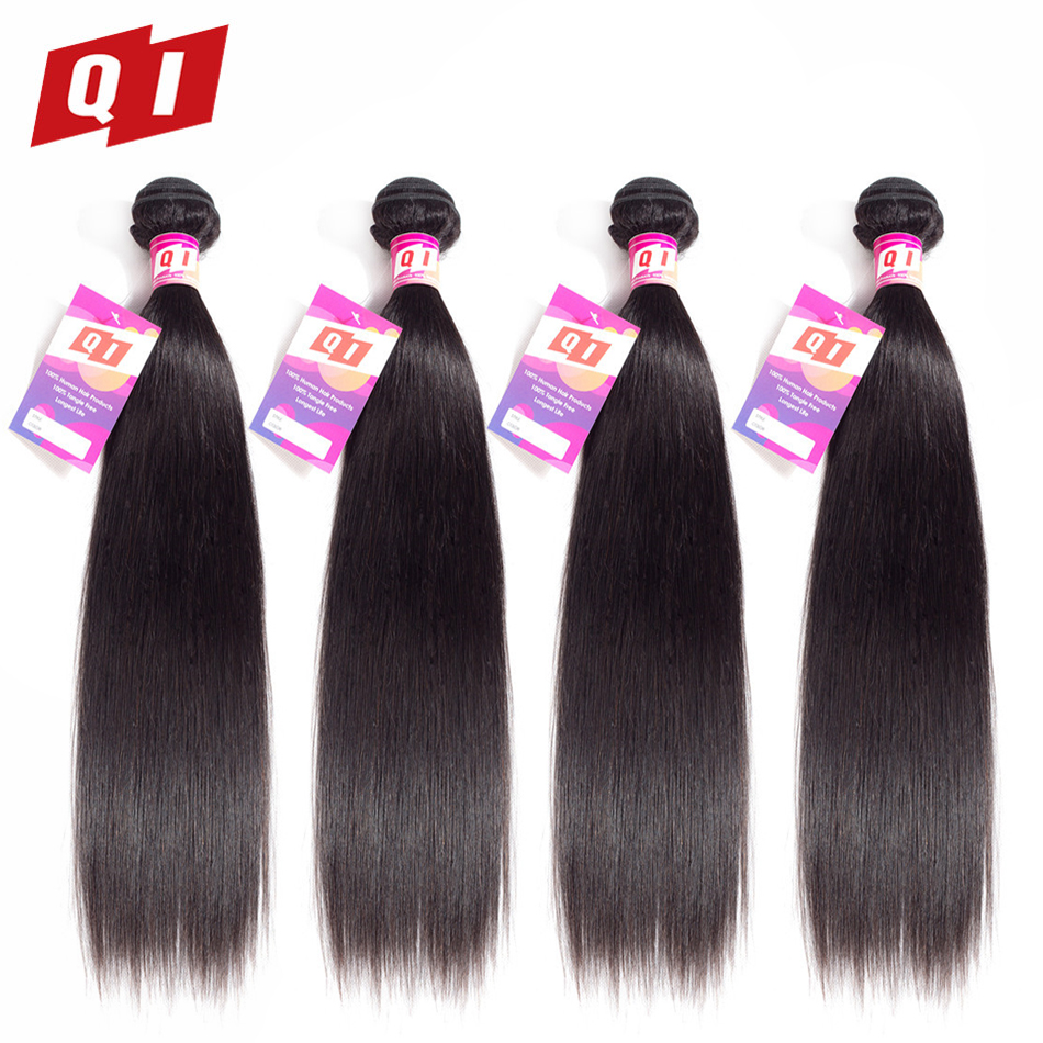 QI Hair Straight Indian Hair Weave 4 Bundles 100% Human Hair Natural Color 8-26 Inches Hair Extensions Non Remy Double Weft