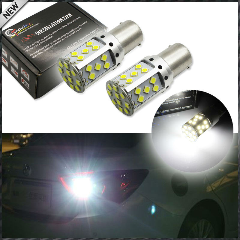 2pcs Error Free Super Bright 15W 35-SMD 1156 P21W 7506 LED Replacement Bulbs For Euro Car Backup Reverse Lights, Xenon White 2 x error free super bright white led bulbs for backup reverse light 921 912 t15 w16w for peugeot 408