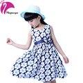 Novo Estilo Pastoral 2016 Meninas Do Bebê Vestido de Verão Floral de Algodão Sem Mangas Flor Crianças Vestidos de Princesa Roupas Da Menina das Crianças
