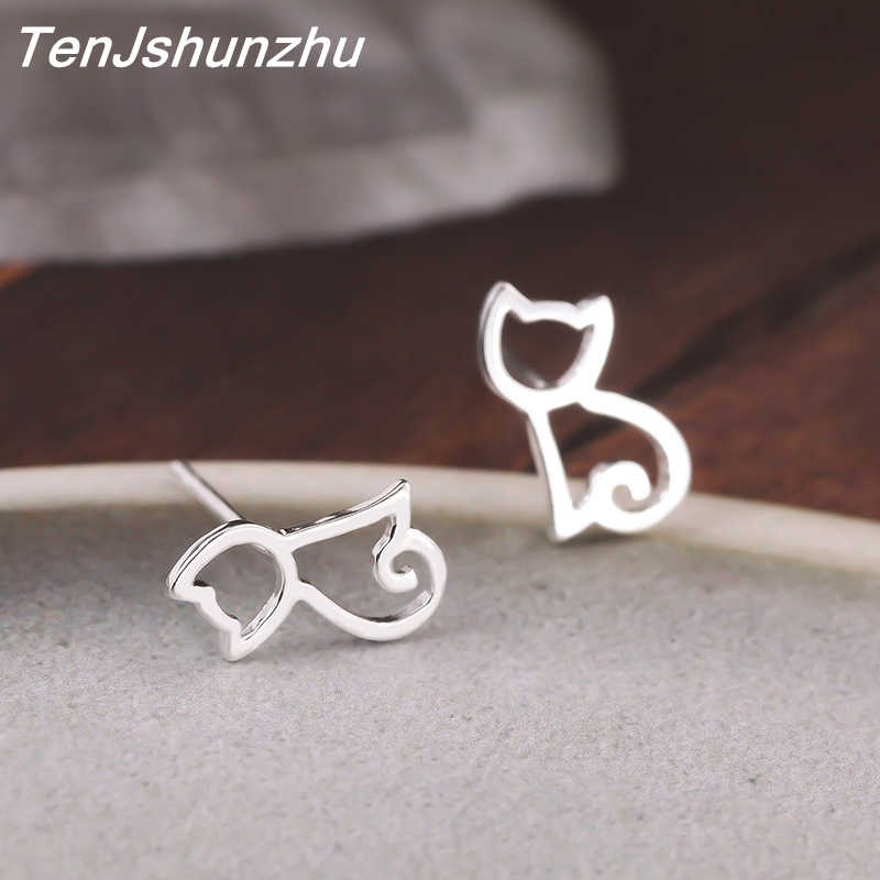 High Quality 100% 925 Sterling Silver Earring Fashion Cute Tiny Symmetry Cat Stud Earrings Gift For Women Girls Gift eh370