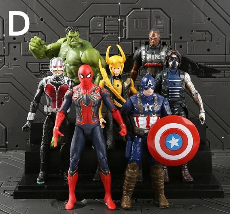 18cm 7 pçs/set Justice League & Figura Avengers Marvel Super Hero Figuras Colecionáveis Modelo Personagens Modelo Boneca de Vinil Brinquedos