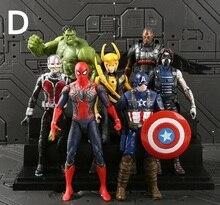 18cm 7pcs/set  Super Hero Characters Figure Model Vinyl Doll iron man Collectible decoration Model Toys kids fans birthday gift