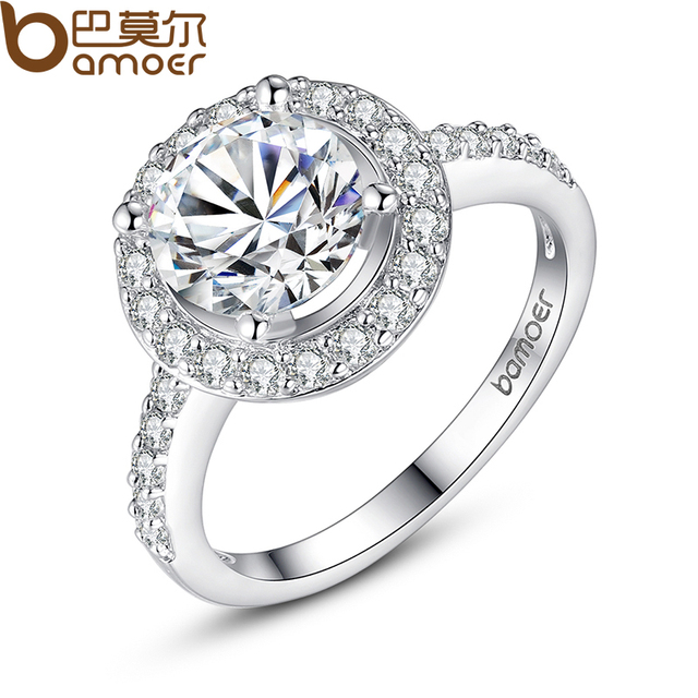 BAMOER White Gold Color Ring With Carat Zircon 1CM Luxury Wedding Ring for Women