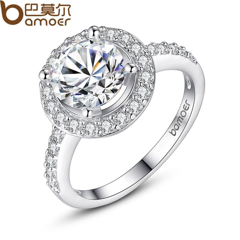 Bamoer 18 К кольцо из белого золота с карата диаманта CZ 1 см роскошный обручальное  кольцо для женщин оптовая продажа YIR033 1646cbd751c