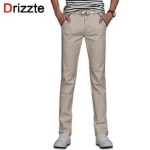 Drizzte марка мужчины хлопка стрейч джинсы мягкие чино брюки случайные платье брюки размер 33 34 36 38 khaki бежевый черный синий