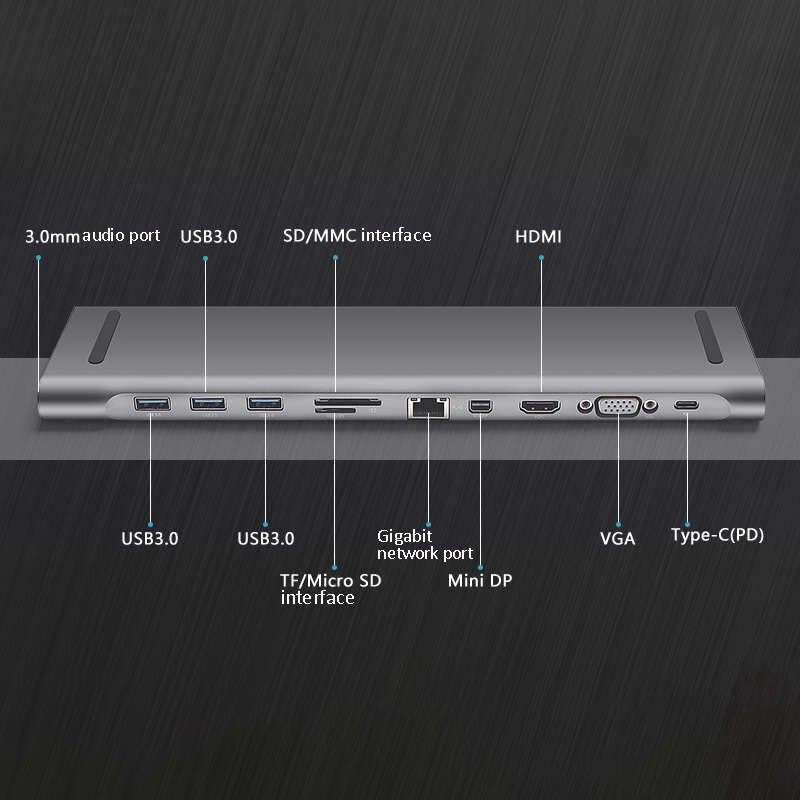 ULT BEST 10 In 1 3Usb Port Typ C Hub Docking Station Unterstützung 3,5 Mm Audio 4K x 2K Hd mi Vga Rj45 Lan Gigabit Sd/Tf Kartenleser mi - 5
