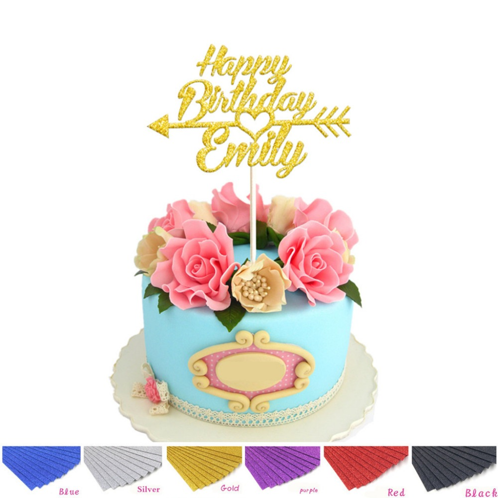 1pcs Personalized Custom Happy Birthday Cake Topper With Arrow Cake Toppers Birthday Party DIY