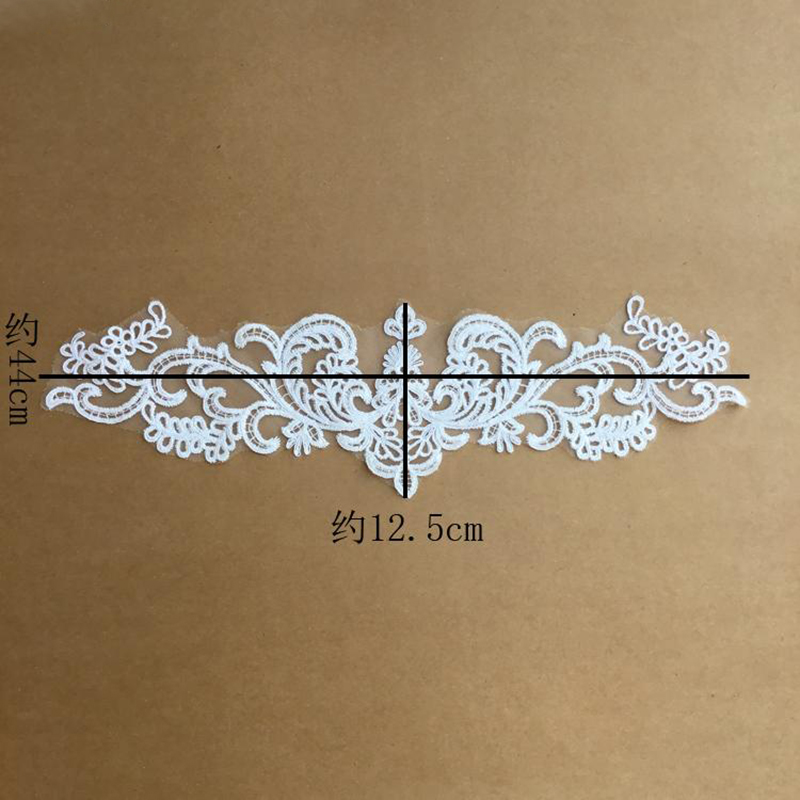 2 Pieces Ivory Venice Lace Appliques Sewing Applique Embroidered Patch Wedding Dress High Quality 44x12 5cm in Lace from Home Garden